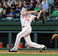 Center fielder Cody Koback (18) of the Greenville Drive in a game against the Augusta GreenJackets on April 19, 2012, at Fluor Field at the West End in Greenville, South Carolina. (Tom Priddy/Four Seam Images)