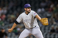 Louisville Bats relief pitcher Sam LeCure (21) in action against the Charlotte Knights at BB&T BallPark on May 12, 2015 in Charlotte, North Carolina.  The Knights defeated the Bats 4-0.  (Brian Westerholt/Four Seam Images)