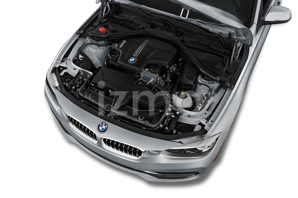 Car Stock 2018 BMW 3-Series 320i 4 Door Sedan Engine  high angle detail view