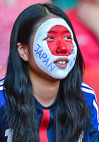 August 10, 2012..Fan of Japan men's soccer team during bronze medal match at the Millennium Stadium on day fourteen in Cardiff, England. Korea defeat Japan 2-0 to win Olympic bronze medal in men's soccer. ..