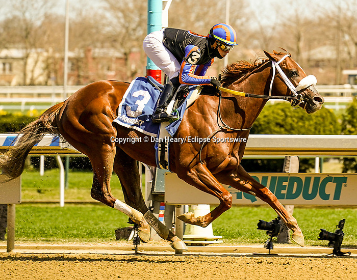 APR 03, 2021 :  Drain The Clock with Irad Ortiz Jr. aboard, wins the Grade 3  Bay Shore Stakes, for 3- year olds going 7 furlongs, at Aqueduct Racetrack, Ozone Park, NY. Dan Heary-Eclipse Sportswire-CSM