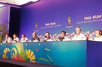 Costa do Sauípe, Bahia, Brazil - Thursday, Dec 5, 2013: Former FIFA players: Ghiggia (Uruguai), Geoff Hurst (England), Mario Kempes (Argentina), Lothar Matthäus (Germany), Zinedine Zidane (France), Cafu (Brazil), Fabio Cannavaro (Italy), and Fernando Hierro (Spain), at a press conference the day before the 2014 World Cup Draw.