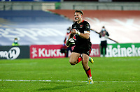 Sunday 22nd November 2020 | Ulster vs Scarlets<br /> <br /> Stewart Moore races clear to score  during the Guinness PRO14 Round 7 clash between Ulster Rugby and Scarlets at Kingspan Stadium, Ravenhill Park, Belfast, Northern Ireland. Photo by John Dickson / Dicksondigital