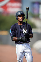 New York Yankees Evan Alexander (48) on deck during a Florida Instructional League game against the Philadelphia Phillies on October 11, 2018 at Yankee Complex in Tampa, Florida.  (Mike Janes/Four Seam Images)