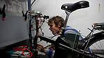 Eric de Groen works on the bike generating system.