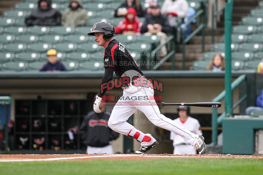 Rochester Red Wings second baseman James Beresford (2) bats against the Scranton Wilkes-Barre Railriders on May 1, 2016 at Frontier Field in Rochester, New York. Red Wings won 1-0.  (Christopher Cecere/Four Seam Images)