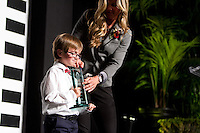 Hall of fame inductee Brandi Chastain and her son at the San Jose Sports Hall of Fame induction ceremony at the HP Pavilion on Nov. 14, 2012.