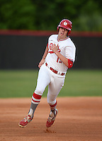 Lake Mary Rams third baseman Brett Brubaker (19) during a game against the Lake Brantley Patriots on April 2, 2015 at Allen Tuttle Field in Lake Mary, Florida.  Lake Brantley defeated Lake Mary 10-5.  (Mike Janes/Four Seam Images)