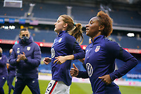 SOLNA, SWEDEN - APRIL 10: Crystal Dunn #19 of the United States warming up before a game between Sweden and USWNT at Friends Arena on April 10, 2021 in Solna, Sweden.