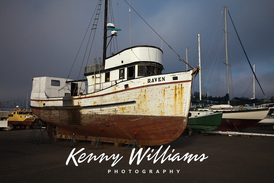 Old Commercial Fishing Boat, Repair Shipyard, Port of Astoria, Oregon, America, USA.