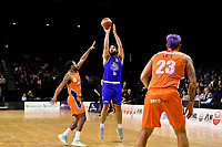 Tohi Smith-Milner of the Wellington Saints shoots the ball during the round two NBL match between the Wellington Saints and the Southland Sharks at TSB Bank Arena, Wellington, New Zealand on Friday 7 May 2021.<br /> Photo by Masanori Udagawa. <br /> www.photowellington.photoshelter.com