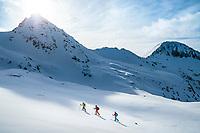A ski tour through the Pirin Mountains of Bulgaria. A group ski touring from the Tevno Ezero Hut headed for the Demianica Hut.