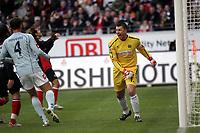 Dimo Wache (FSV Mainz 05) freut sich ¸ber die vereitelte Frankfurter Chance