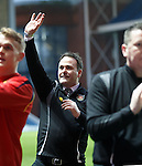 Albion Rovers manager James Ward salutes the travelling fans at full time