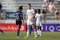 CARY, NC - SEPTEMBER 12: Olivia Moultrie #42 of the Portland Thorns FC enters the field as a substitute in the second half of a game between Portland Thorns FC and North Carolina Courage at Sahlen's Stadium at WakeMed Soccer Park on September 12, 2021 in Cary, North Carolina.