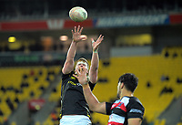 James Blackwell goes up for lineout ball during the Mitre 10 Cup rugby match between Wellington Lions and Counties Manukau Steelers at Westpac Stadium in Wellington, New Zealand on Wednesday, 29 August 2019. Photo: Dave Lintott / lintottphoto.co.nz