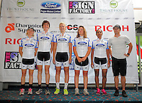 The Fagan Motors team. Trust House Women's Cycle Tour Of New Zealand launch at Copthorne Hotel in Masterton, New Zealand on Wednesday, 18 February 2015. Photo: Dave Lintott / lintottphoto.co.nz