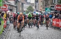 Peloton in the last of 3 local laps with Pim Ligthart (NED/Roompot-Nederlandse Loterij) in front<br /> <br /> Binckbank Tour 2017 (UCI World Tour)<br /> Stage 4: Lanaken > Lanaken (BEL) 155km