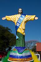 A fan wears a hat with the Rio De Janeiro landmark Christ the Redeemer on it