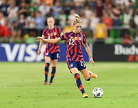 AUSTIN, TX - JUNE 16: Kristie Mewis #22 of the United States passes the ball to a teammate during a game between Nigeria and USWNT at Q2 Stadium on June 16, 2021 in Austin, Texas.