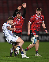 12th February 2021; Kingsholm Stadium, Gloucester, Gloucestershire, England; English Premiership Rugby, Gloucester versus Bristol Bears; Andy Uren of Bristol Bears kicks under pressure from Willi Heinz of Gloucester