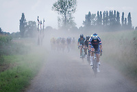 Jonas Rickaert (BEL/Alpecin-Fenix) pacing the race<br /> <br /> Antwerp Port Epic / Sels Trophy 2021 (BEL)<br /> One day race from Antwerp to Antwerp (183km)<br /> <br /> The APC stands qualified as a 'road race', but with 36km of gravel and 28km of cobbled sections in and around the Port of Antwerp (BEL) this race occupies a unique spot in the Belgian race scene.<br /> <br /> ©kramon
