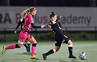 Ludmila Matavkova (9 Charleroi) pictured chasing Aalst's Lieselot De Kegel during a female soccer game between Sporting Charleroi and Eendracht Aalst on the 8th  matchday of the 2020 - 2021 season of Belgian Scooore Womens Super League , friday 20 th of November 2020  in Marcinelle , Belgium . PHOTO SPORTPIX.BE | SPP | DAVID CATRY