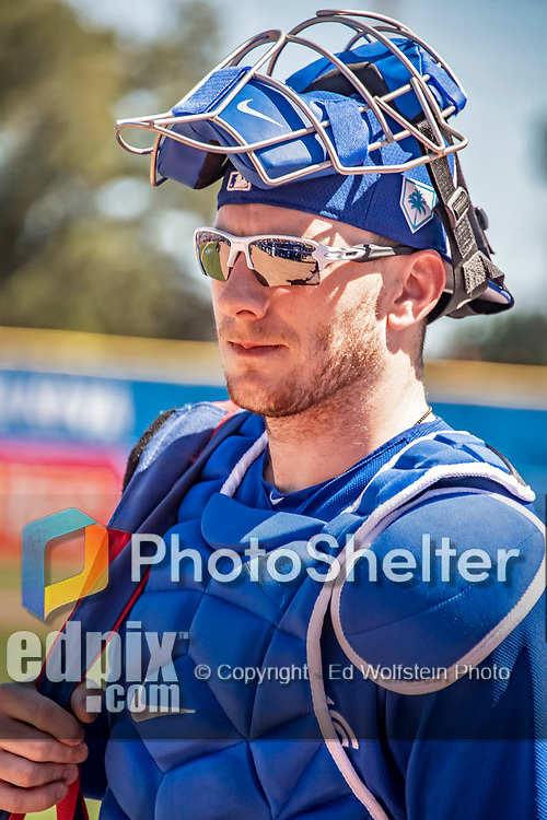 6 March 2019: Toronto Blue Jays top prospect catcher Danny Jansen heads to the dugout prior to a Spring Training game against the Philadelphia Phillies at Dunedin Stadium in Dunedin, Florida. The Blue Jays defeated the Phillies 9-7 in Grapefruit League play. Mandatory Credit: Ed Wolfstein Photo *** RAW (NEF) Image File Available ***