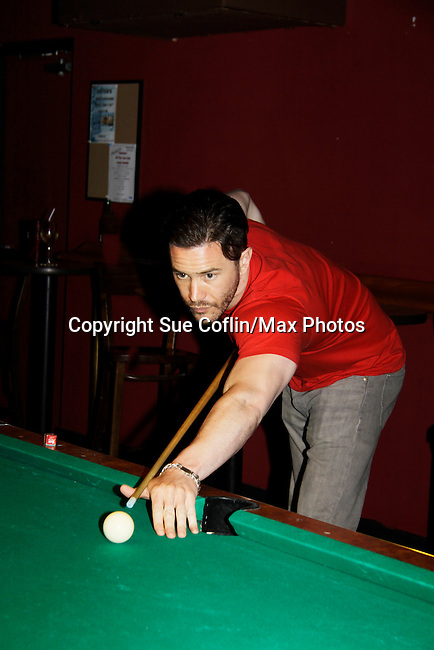 Tom Pelphrey - Guiding Light shoots pool at 15th Southwest Florida Soapfest 2014 Charity Weekend with a Bartending/Karaoke get together on May 26, 2104 at Porky's, Marco Island, Florida. (Photo by Sue Coflin/Max Photos)