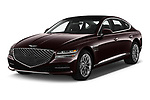 2021 Genesis G80 - 4 Door Sedan Angular Front automotive stock photos of front three quarter view
