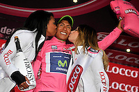 ITALIA - 30-05-2014: Nairo Quintana, ciclista colombiano del equipo Movistar celebra su victoria en la etapa 19 entre  Bassano del Grappa y Cima Grappa sobre 26,8  kilómetros, y se ha apuntado la victoria en la cima de Grappa en la versión 97 del Giro de Italia / Nairo Quintana, Colombian cyclist of the Movistar Team celebrates winning the stage 19 between Bassano del Grappa y Cima Grappa about 26,8   kilometers, and has registered the win on top of Cima Grappa in version 97 of the Giro d'Italia. Photo: VizzorImage/ Marco Alpozzi/ LaPress…. VIZZORIMAGE PROVIDES THE ACCESS TO THIS PHOTOGRAPH ONLY AS A PRESS AND EDITORIAL SERVICE AND NOT IS THE OWNER OF COPYRIGHT; ANOTHER USE HAVE ADDITIONAL PERMITS AND IS REPONSABILITY OF THE END USER