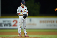 Johnson City Cardinals relief pitcher Dylan Pearce (38) looks to his catcher for the sign against the Burlington Royals at Burlington Athletic Stadium on September 4, 2019 in Burlington, North Carolina. The Cardinals defeated the Royals 8-6 to win the 2019 Appalachian League Championship. (Brian Westerholt/Four Seam Images)
