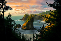 Arch Rock and sunset. Samuel H. Boardman State Park, Oregon