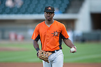 Josh Hart (10) of the Frederick Keys warms up in the outfield prior to the game against the Winston-Salem Dash at BB&T Ballpark on May 24, 2016 in Winston-Salem, North Carolina.  The Keys defeated the Dash 7-1.  (Brian Westerholt/Four Seam Images)