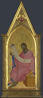 Full title: Saint John the Baptist: Right Pinnacle Panel<br /> Artist: Giovanni da Milano<br /> Date made: about 1364-6<br /> Source: http://www.nationalgalleryimages.co.uk/<br /> Contact: picture.library@nationalgallery.co.uk<br /> <br /> Copyright © The National Gallery, London
