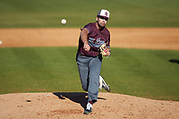 Concord Mountain Lions relief pitcher Nick Herrerias (50) delivers a pitch to the plate against the Wingate Bulldogs at Ron Christopher Stadium on February 2, 2020 in Wingate, North Carolina. The Mountain Lions defeated the Bulldogs 12-11. (Brian Westerholt/Four Seam Images)