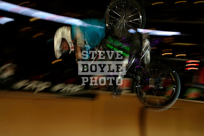 Jay Eggleston competes in the BMX Freestyle Vert finals during X-Games 12 in Los Angeles, California on August 4, 2006.