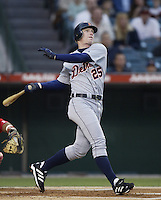 Robert Fick of the Detroit Tigers bats during a 2002 MLB season game against the Los Angeles Angels at Angel Stadium, in Anaheim, California. (Larry Goren/Four Seam Images)
