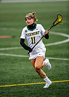 17 April 2021: University of Vermont Catamount Midfielder Molly McDonough, a Junior from Narberth, PA, in action against the UMBC Retrievers at Virtue Field in Burlington, Vermont. The Lady Cats fell to the Retrievers 11-8 in the America East Women's Lacrosse matchup. Mandatory Credit: Ed Wolfstein Photo *** RAW (NEF) Image File Available ***