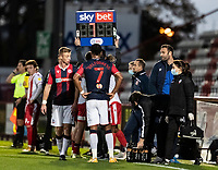 Bolton Wanderers' head coach Ian Evatt (2nd right) talks to his players during a break in play<br /> <br /> Photographer Andrew Kearns/CameraSport<br /> <br /> The EFL Sky Bet League Two - Stevenage v Bolton Wanderers - Saturday 21st November 2020 - Lamex Stadium - Stevenage<br /> <br /> World Copyright © 2020 CameraSport. All rights reserved. 43 Linden Ave. Countesthorpe. Leicester. England. LE8 5PG - Tel: +44 (0) 116 277 4147 - admin@camerasport.com - www.camerasport.com