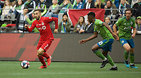 SEATTLE, WA - NOVEMBER 10: Toronto FC midfielder Nicolas Benezet #7 controls the ball during a game between Toronto FC and Seattle Sounders FC at CenturyLink Field on November 10, 2019 in Seattle, Washington.