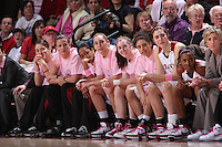 16 February 2008: Stanford Cardinal (L-R) Michelle Harrison, Jillian Harmon, Melanie Murphy, Ashley Cimino, Hannah Donaghe, Cissy Pierce, Morgan Clyburn, Candice Wiggins, and Kate Paye during Stanford's 79-57 win against the Arizona State Sun Devils at Maples Pavilion in Stanford, CA.