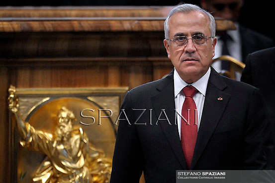 Lebanon's President Michel Sleiman .Pope Benedict XVI leads a ceremony to appoint six new cardinals at St Peter's basilica at the Vatican.November 24, 2012