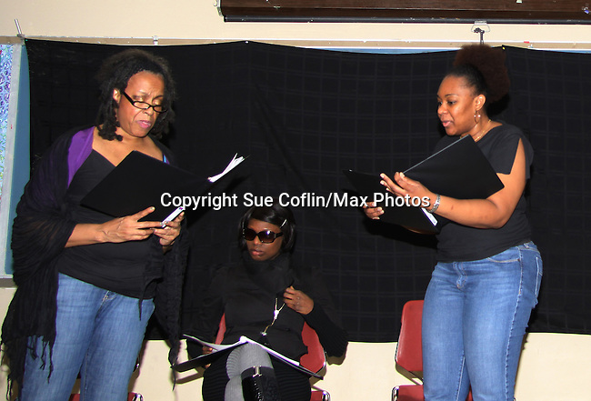 "Niambi Steele - Ahn Andre - Tanashia Harrington are a part of the cast of ""To Do List"" - Evern Gillard-Randolph, playwright and founder of Grandparents Around the World, presents her new play ""To Do List"" in a first play reading on December 7, 2013 at the Salvation Army Harlem Corps, New York, New York.  (Photo by Sue Coflin/Max Photos)"