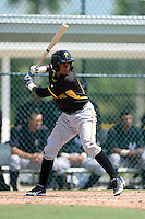 Pittsburgh Pirates shortstop Pablo Reyes (12) during an Instructional League game against the New York Yankees on September 18, 2014 at the Pirate City in Bradenton, Florida.  (Mike Janes/Four Seam Images)