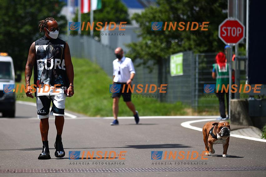 #44 Lewis Hamilton Mercedes AMG Team F1 with his dog Roscoe. Formula 1 World championship 2021, Styrian GP 2021, June 24th, 2021<br /> Photo Federico Basile / Insidefoto