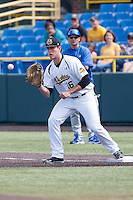 Casey Gillaspie (16) in action during the NCAA matchup between the Indiana State Sycamores and the Wichita State Shockers at Eck Stadium on April 6th, 2012 in Wichita, Kansas. The Shockers defeated the Sycamores 11-3. (William Purnell/Four Seam Images)