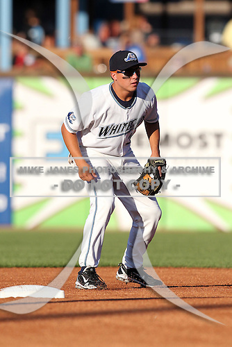 West Michigan Whitecaps second baseman Corey Jones (34) during a game vs. the Fort Wayne TinCaps at Fifth Third Field in Comstock Park, Michigan August 18, 2010.   Fort Wayne defeated West Michigan 5-1.  Photo By Mike Janes/Four Seam Images