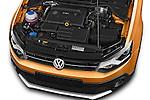 Car Stock 2015 Volkswagen Polo Cross 5 Door Hatchback 2WD Engine high angle detail view