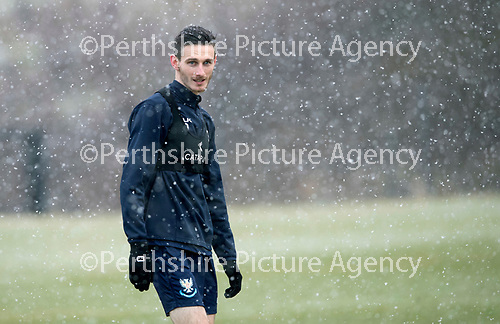 St Johnstone Training…22.01.19   McDiarmid Park<br />Scott Tanser pictured during a snowy training session this morning ahead of tomorrw night's game against Livingston.<br />Picture by Graeme Hart.<br />Copyright Perthshire Picture Agency<br />Tel: 01738 623350  Mobile: 07990 594431